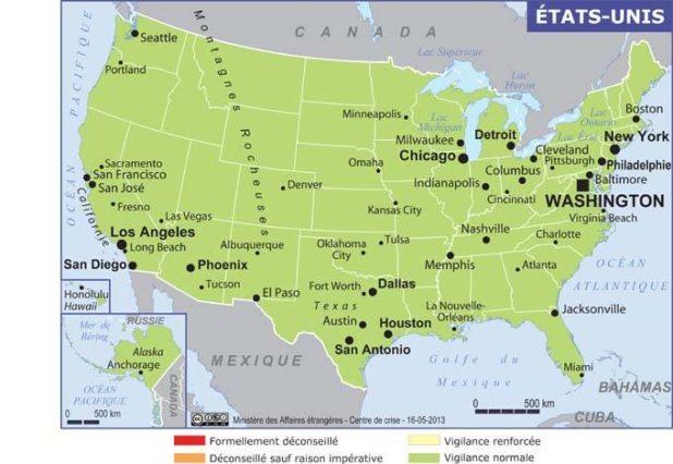 USA (États-Unis) carte
