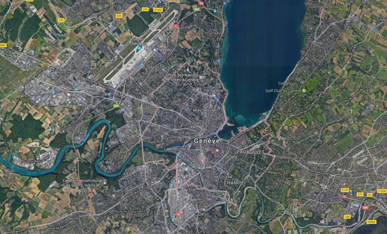 Vue satellite de Genève