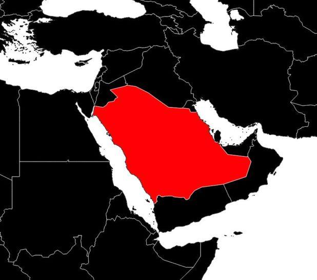 Arabie Saoudite sur une carte du Moyen-Orient
