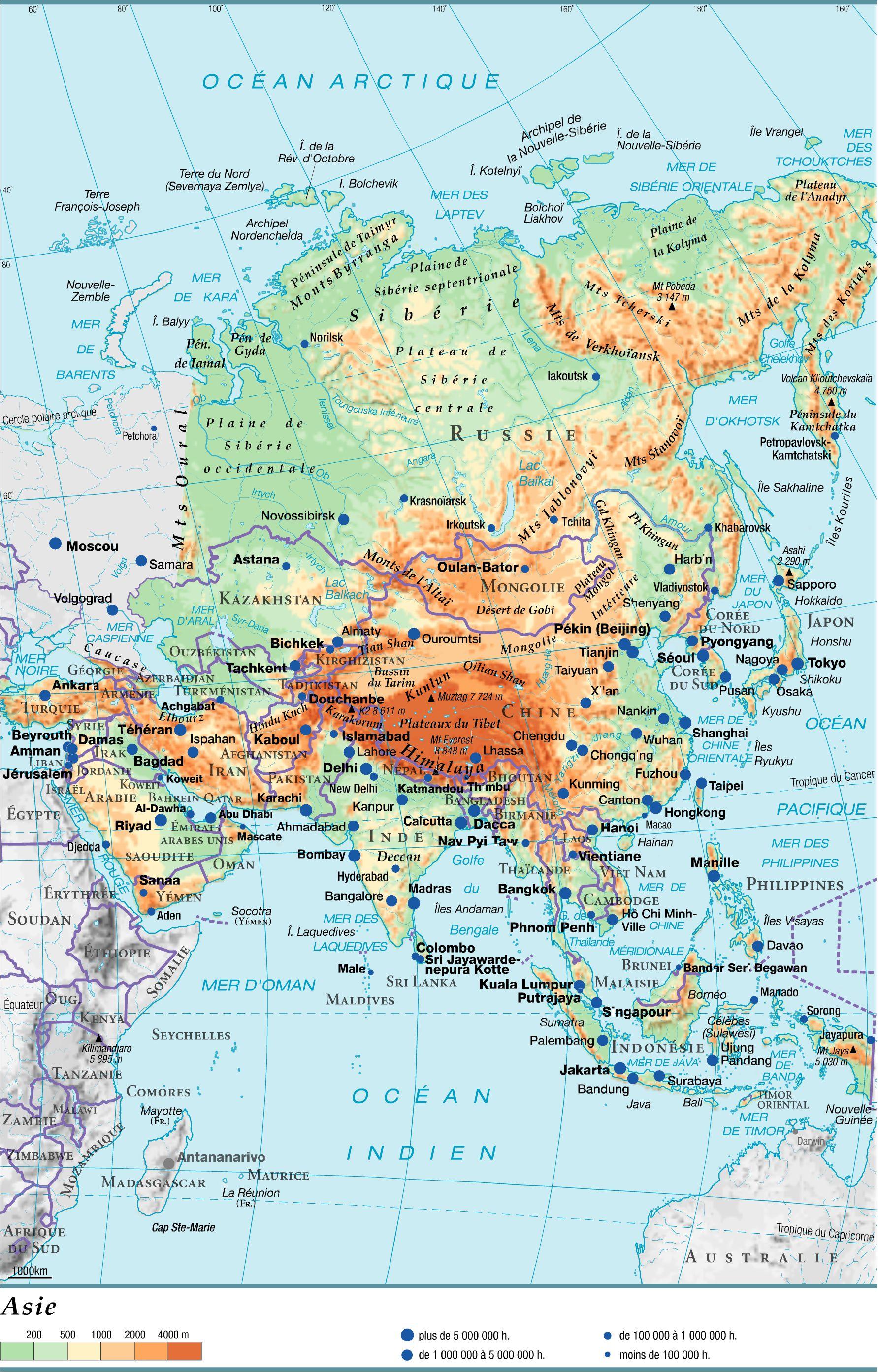 Carte Asie Orientale.Carte De L Asie Differentes Cartes A Themes Sur L Asie