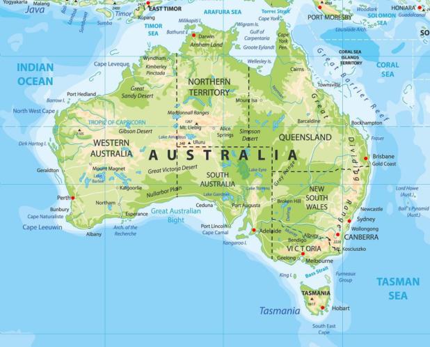 Autre carte de l'Australie
