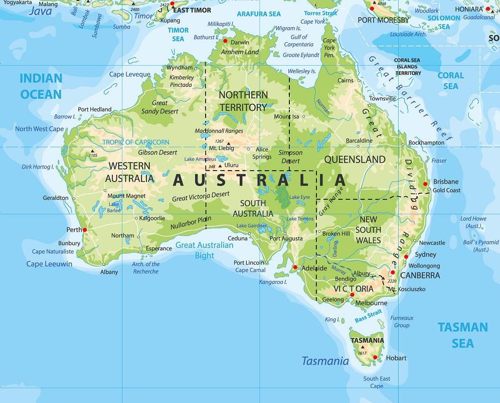 Australie carte touristique