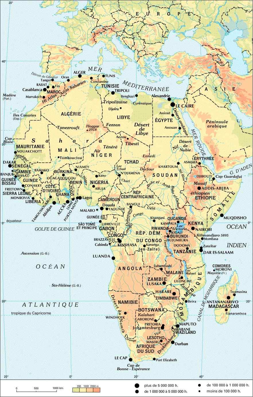 Carte administrative de l'Afrique