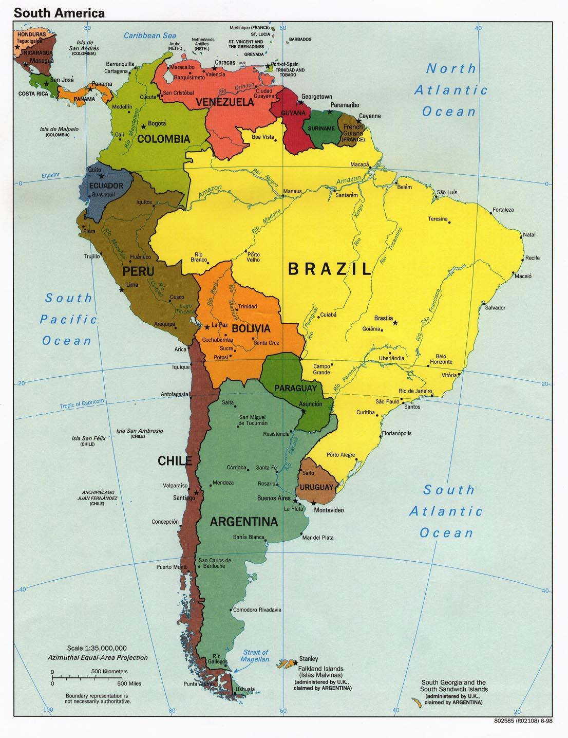 Carte administrative de l'Amérique du Sud
