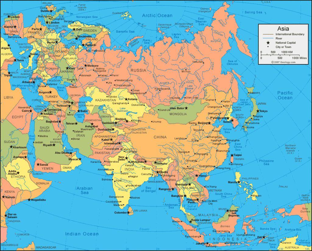 Carte administrative de l'Asie