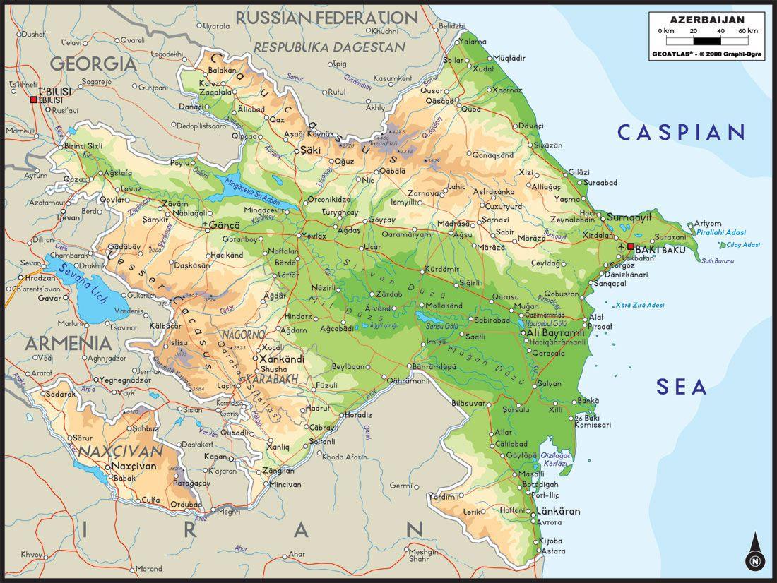 Carte administrative de l'Azerbaïdjan