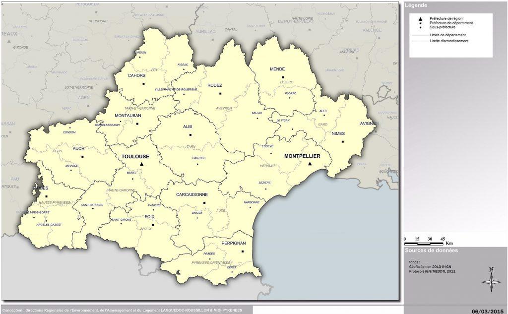 Carte administrative Occitanie