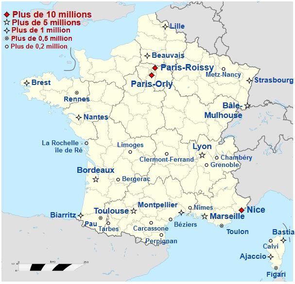 Carte des aéroports en France