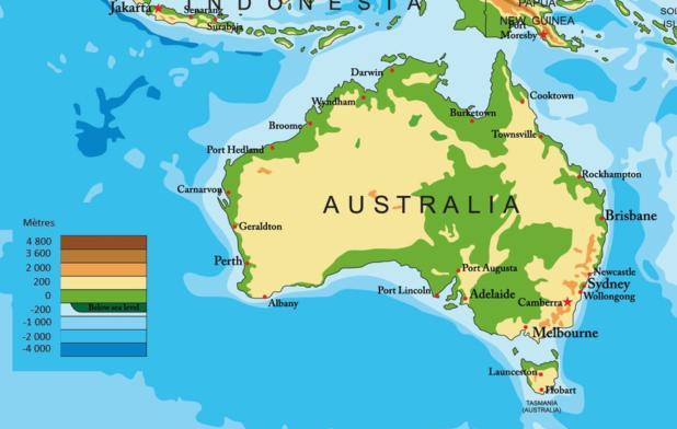 Carte de l'altitude de l'Australie