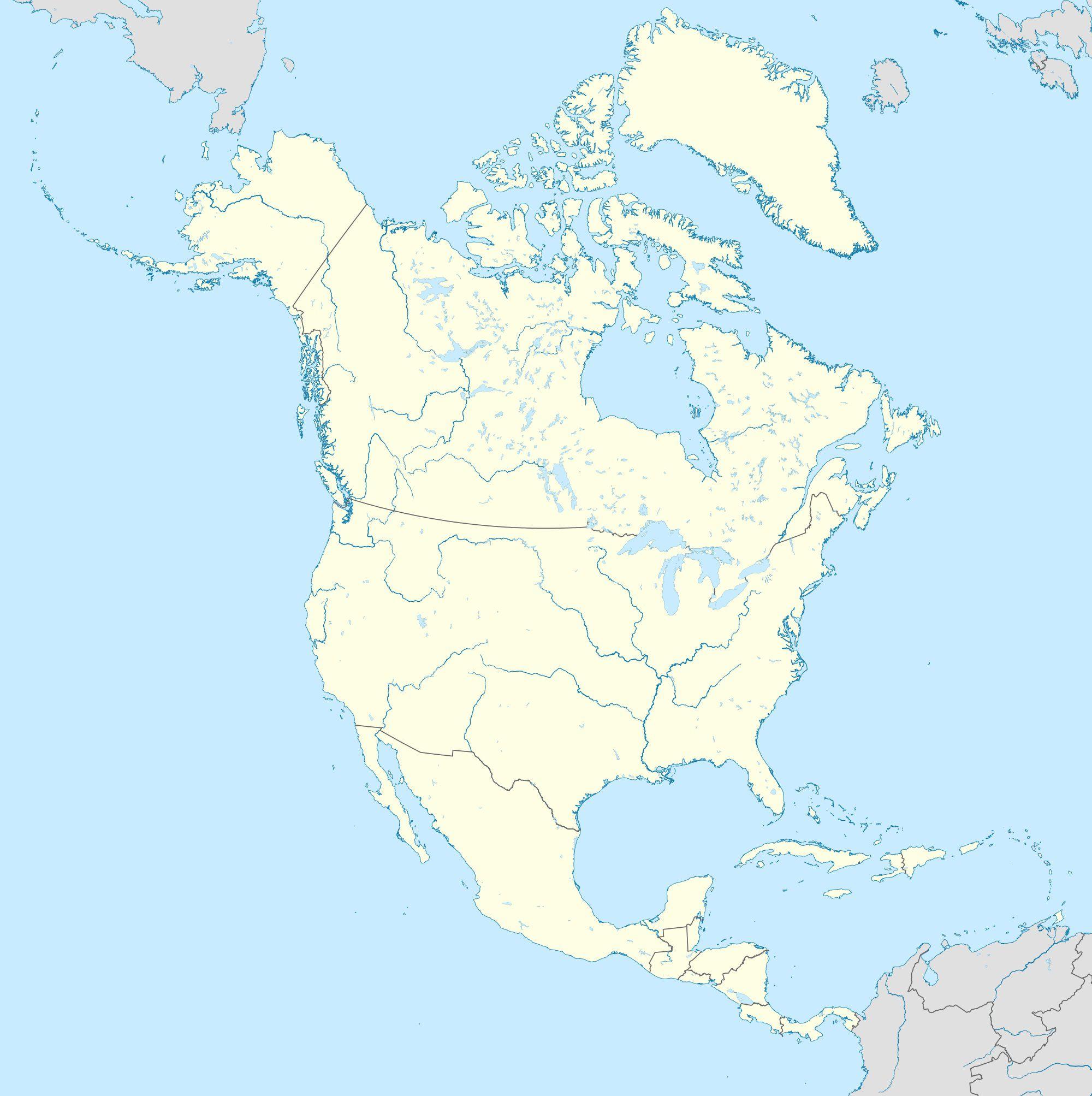 Carte de l'Amérique du Nord et Centrale vierge