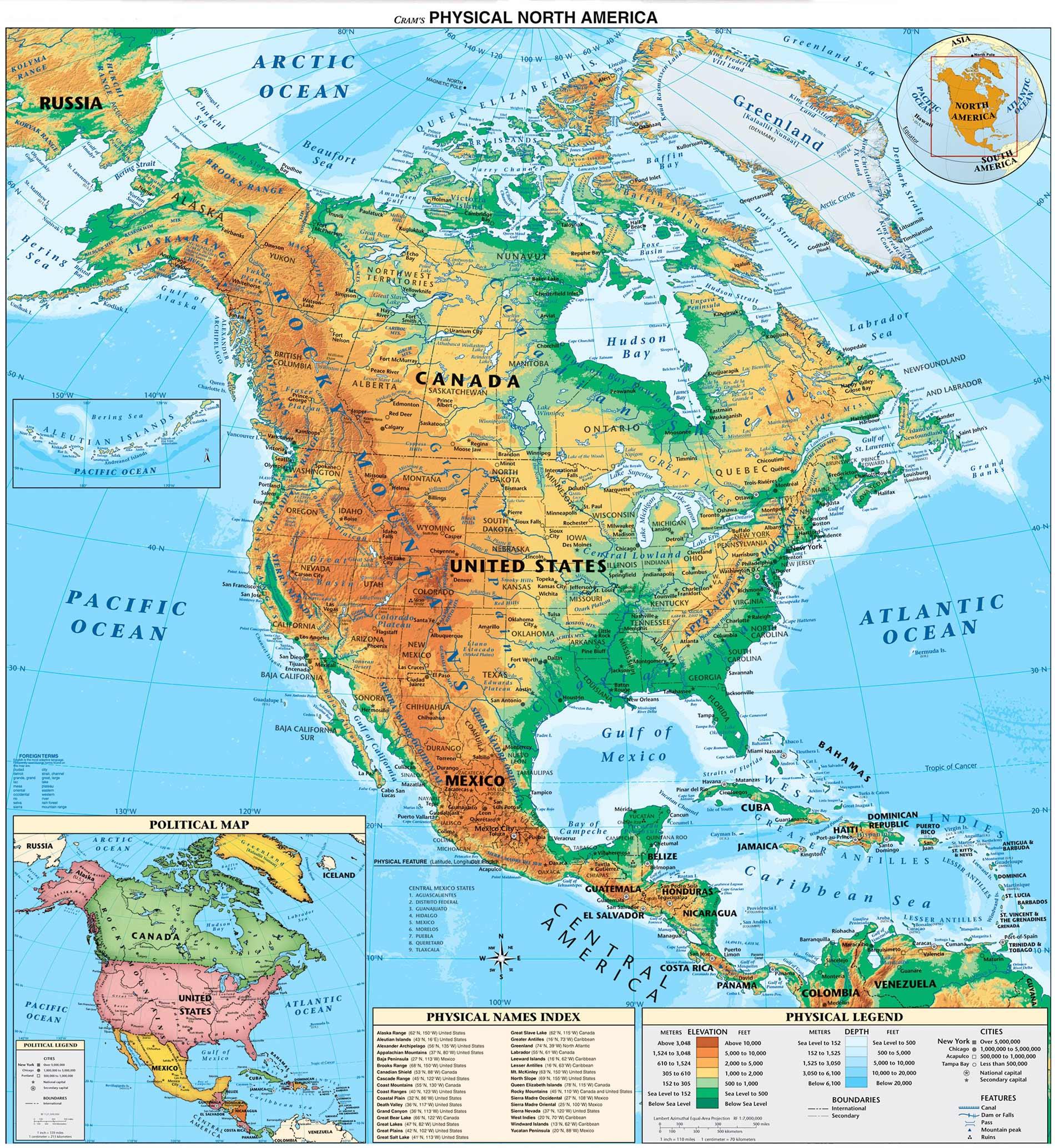 Carte de l'Amérique du Nord et Centrale