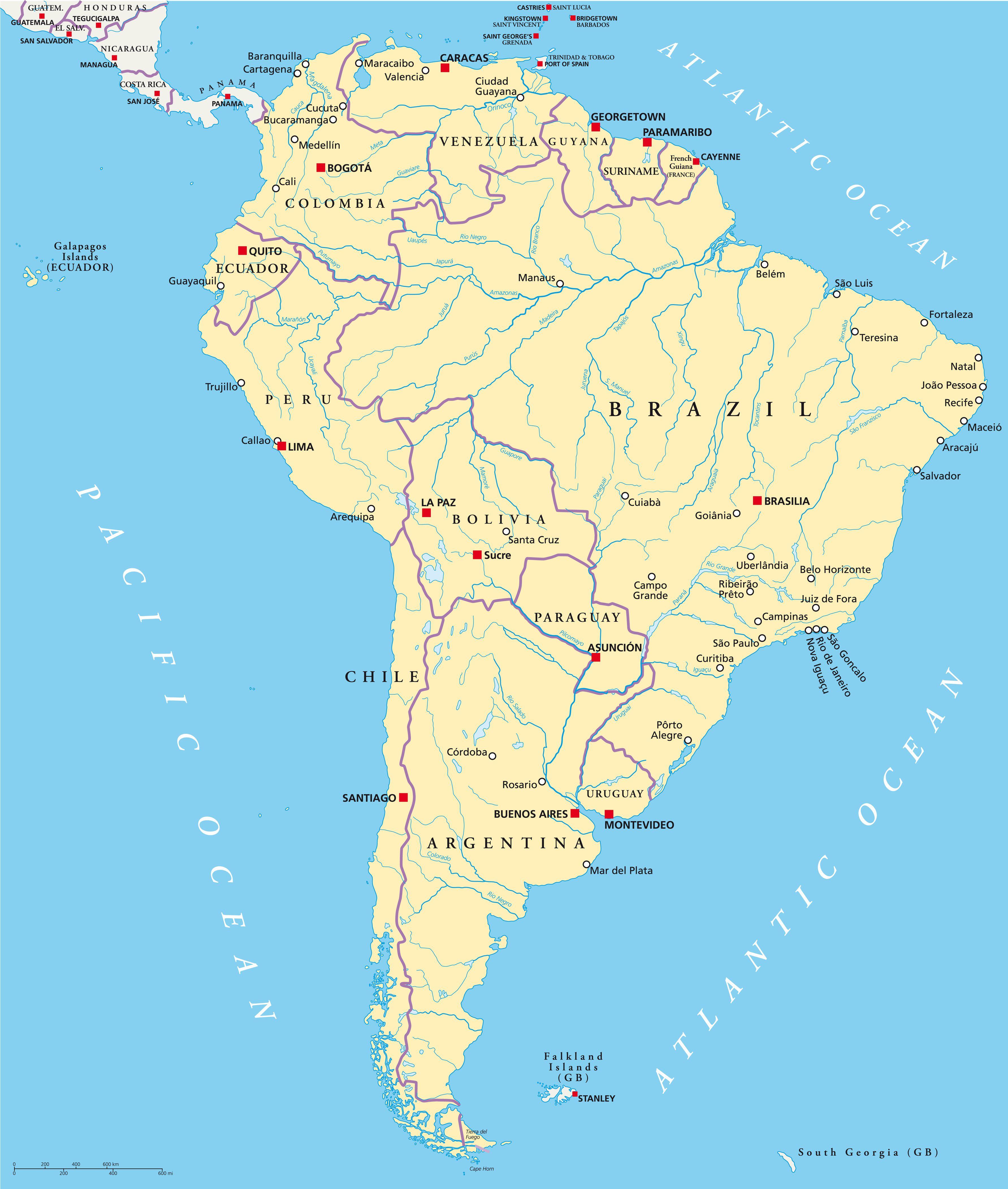 Carte Amerique Latine Avec Fleuves.Carte De L Amerique Du Sud Actualitix Blog De Cartes Tourisme