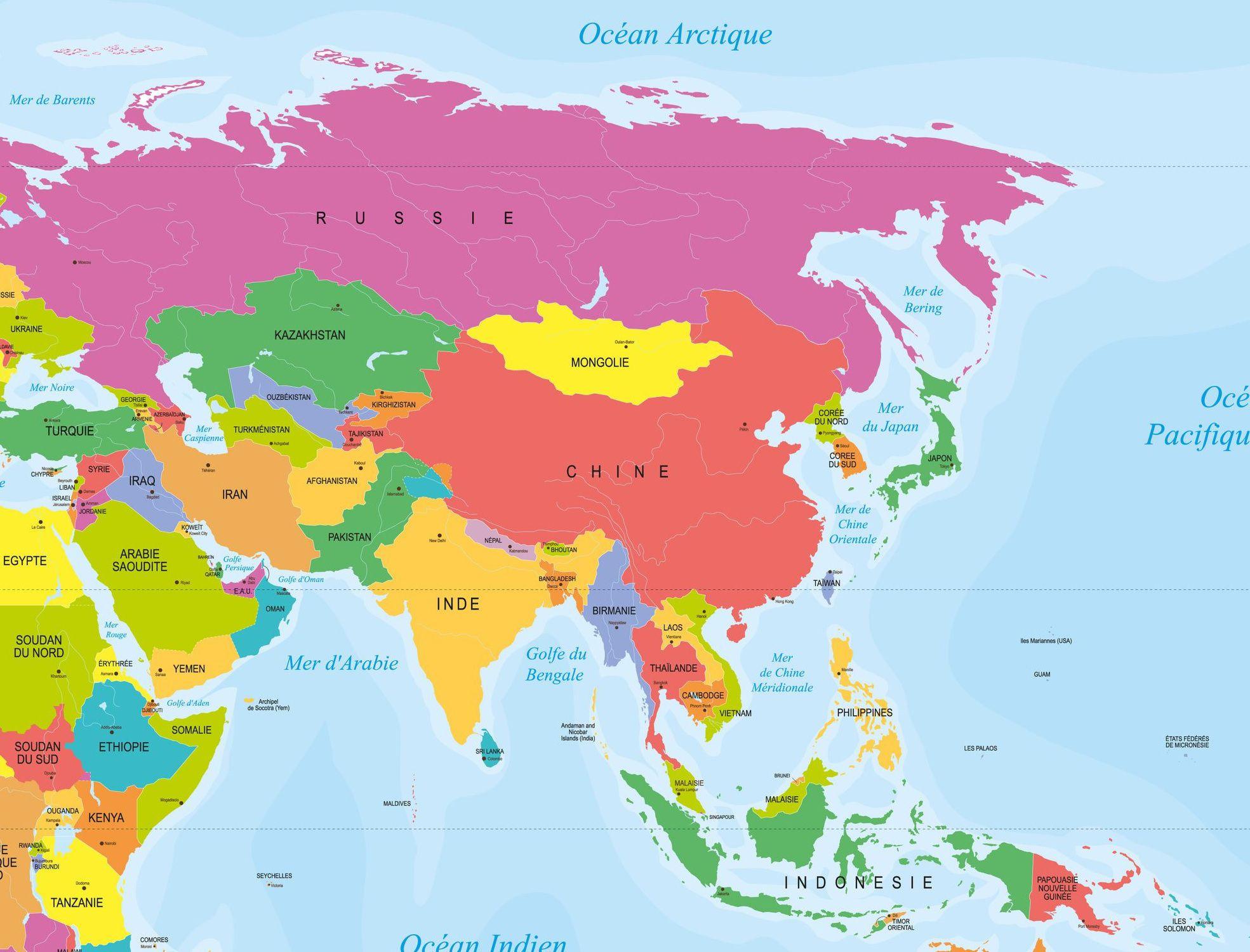 Carte des pays en Asie