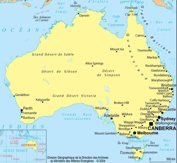 Carte politique de l'Australie