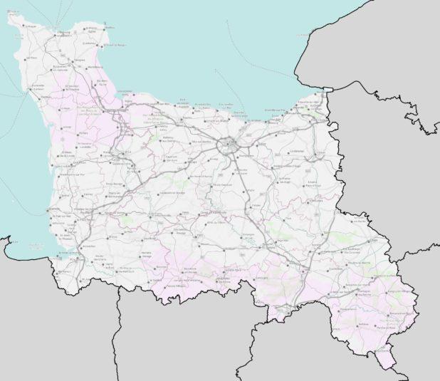 Carte de la Basse Normandie détaillée