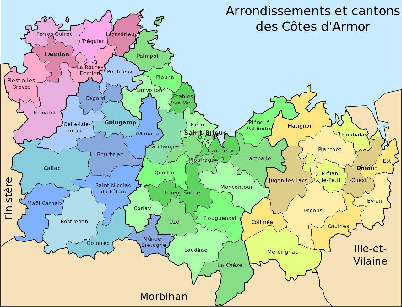 Carte des cantons des Côtes-d'Armor