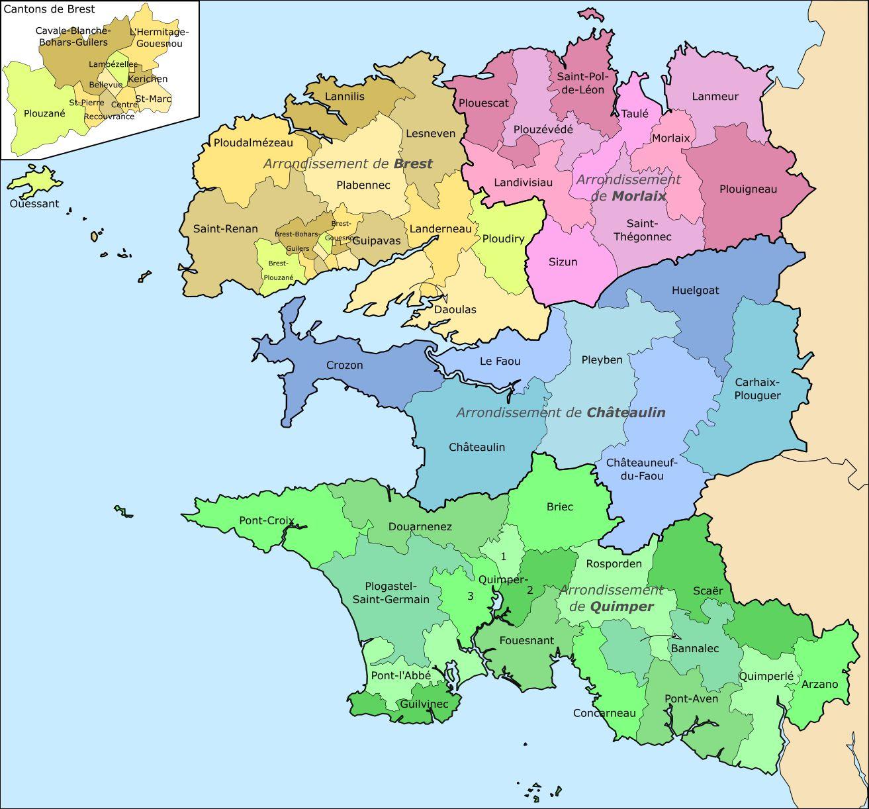 Carte des cantons du Finistère
