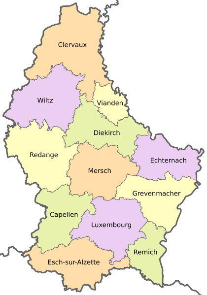 Carte des cantons au Luxembourg