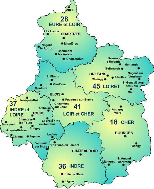 Carte du centre val de loire centre val de loire carte for Region loiret