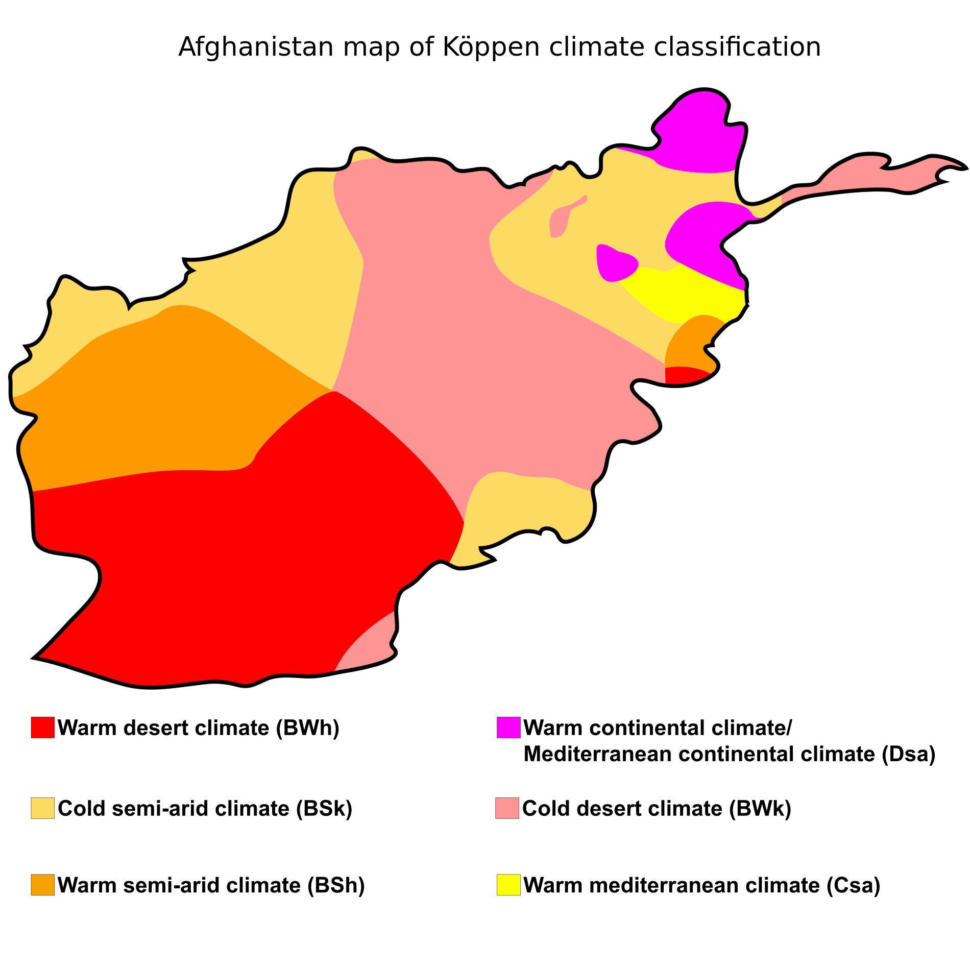 Carte du climat de l'Afghanistan