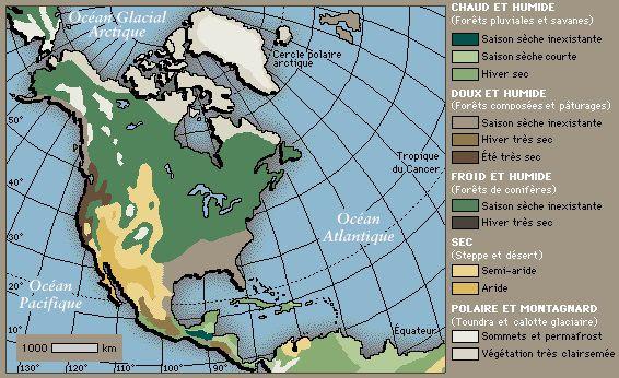 Carte du climat en Amérique du Nord et Centrale