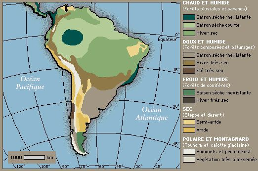 Carte du climat en Amérique du Sud