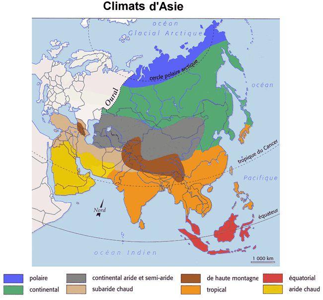 Carte du climat en Asie