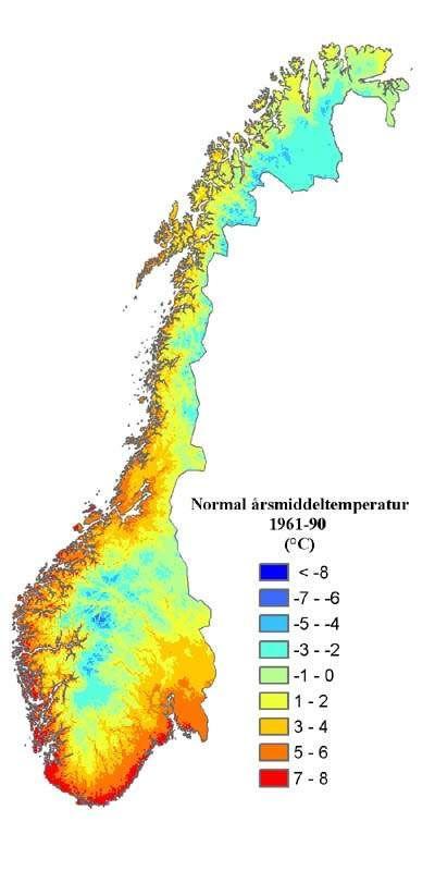Carte du climat en Norvège (températures)