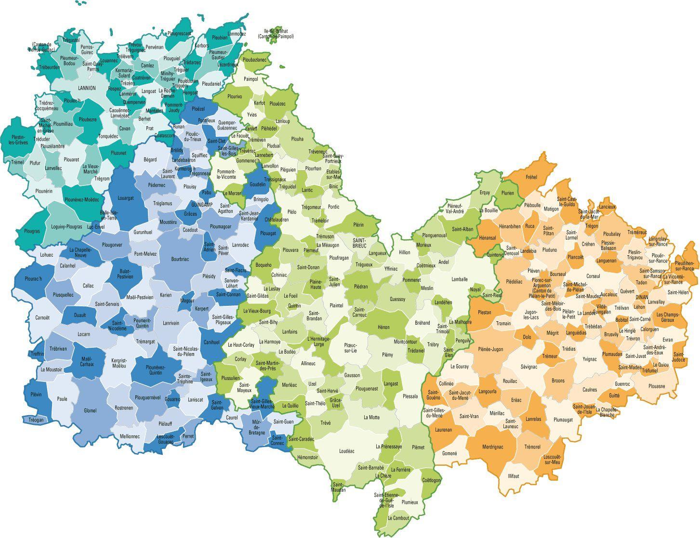 Carte des communes des Côtes-d'Armor