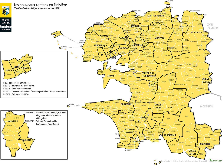 Carte du Finistère   Finistère carte des villes, relief, politique