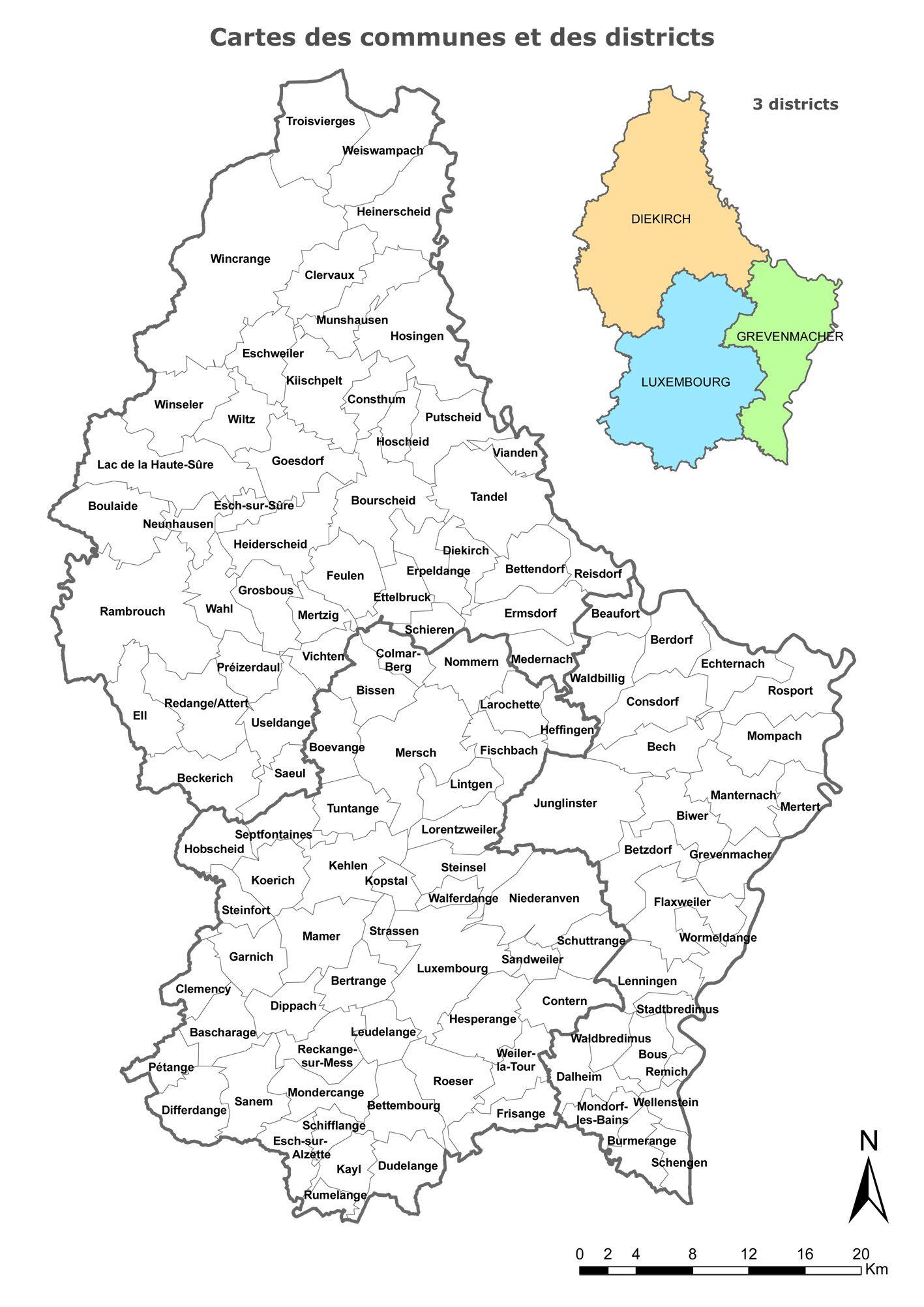 Carte des communes du Luxembourg