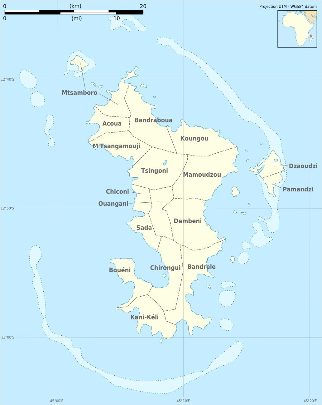 Carte des communes de Mayotte