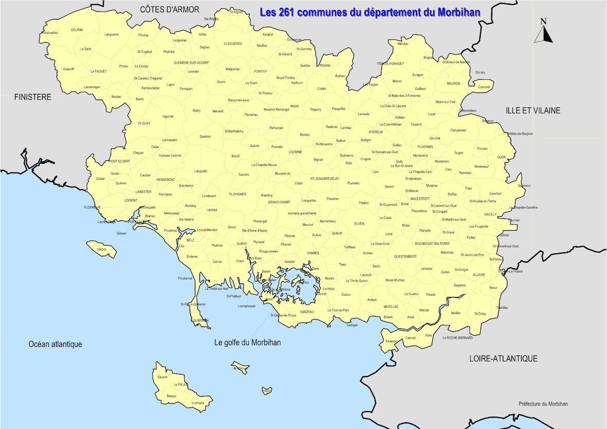 Carte du Morbihan   Morbihan carte des villes, communes, relief