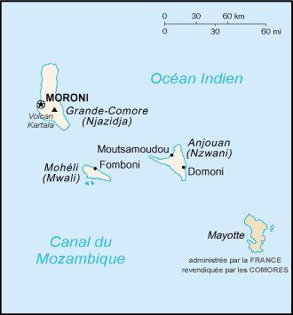 Carte des Comores avec Mayotte