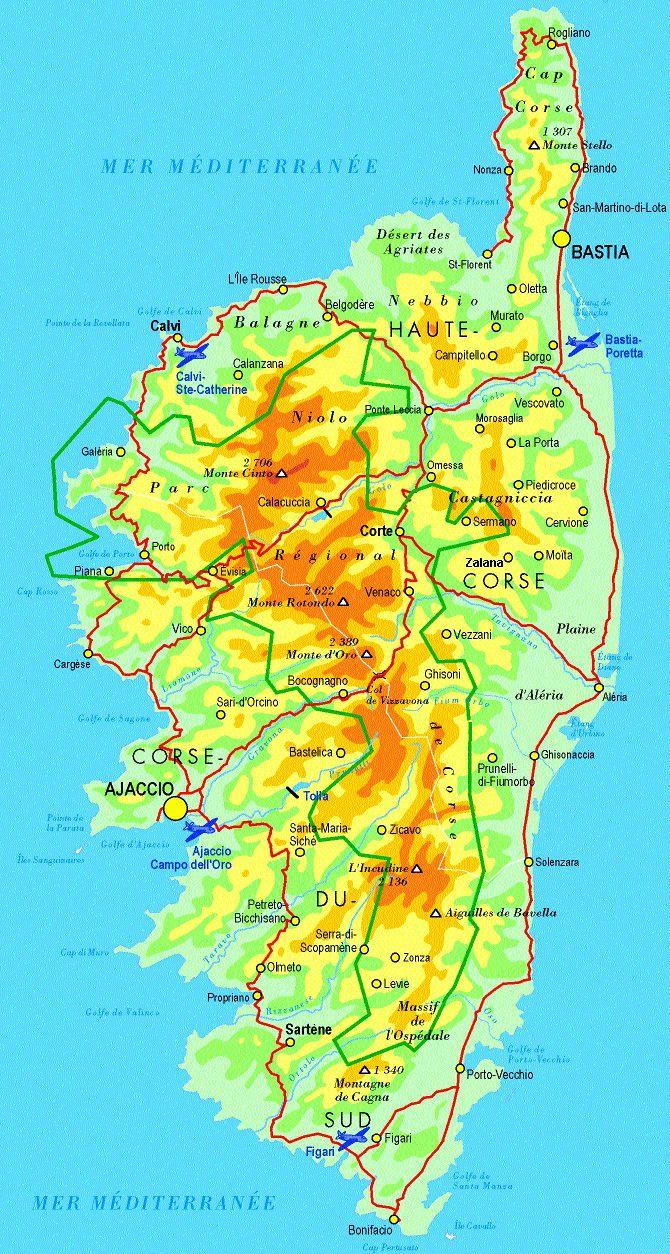 Très Carte de la Corse - Corse cartes des villes, reliefs, sites  SO56