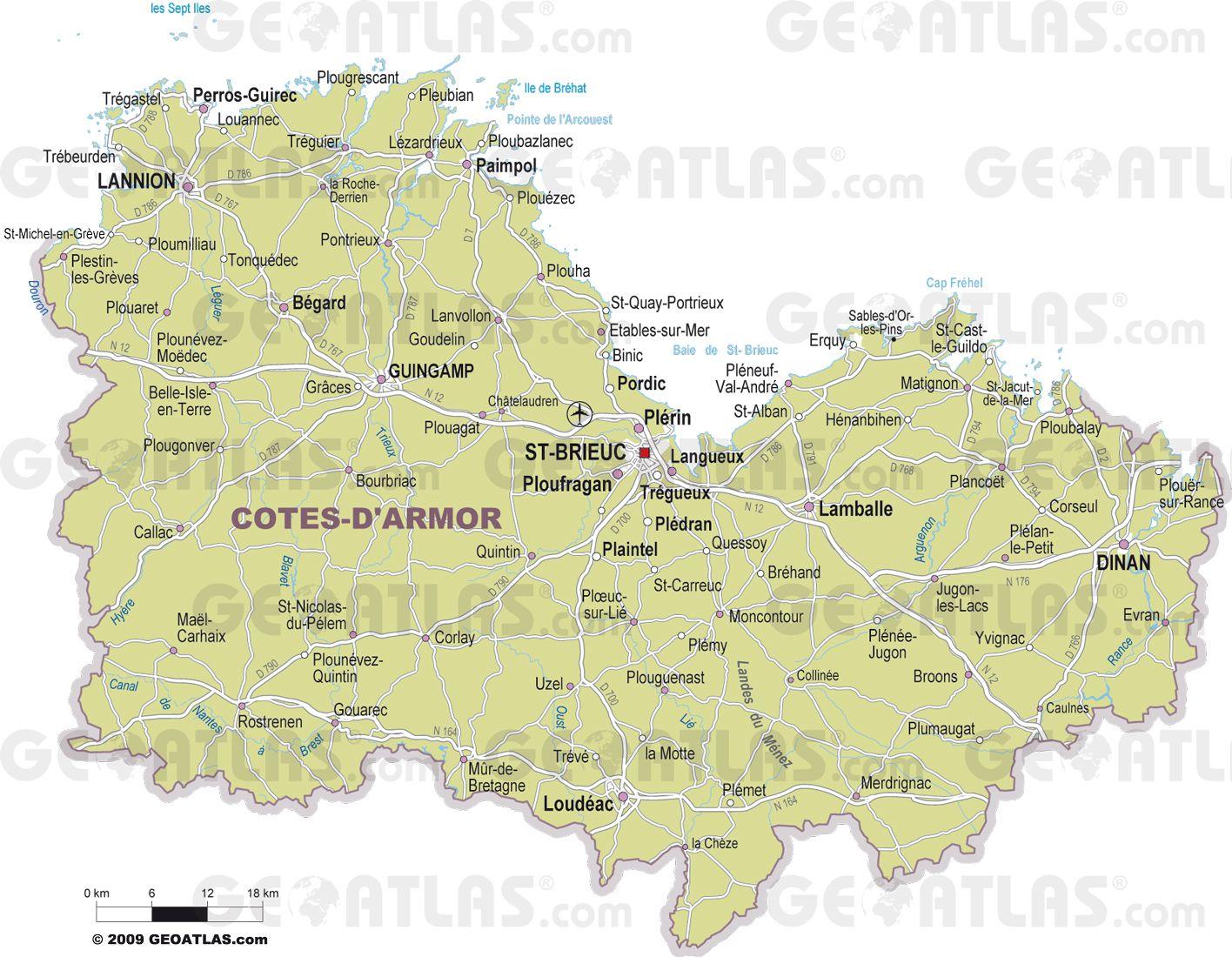 Carte Côtes-d'Armor administrative