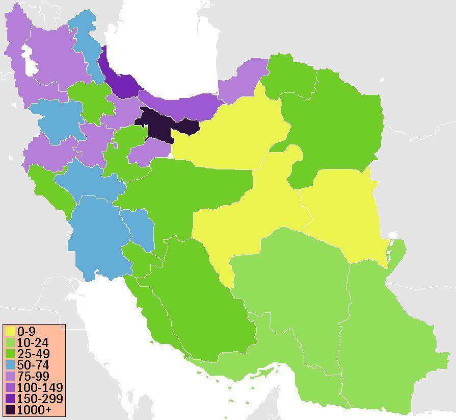 Carte de la densité de population en Iran