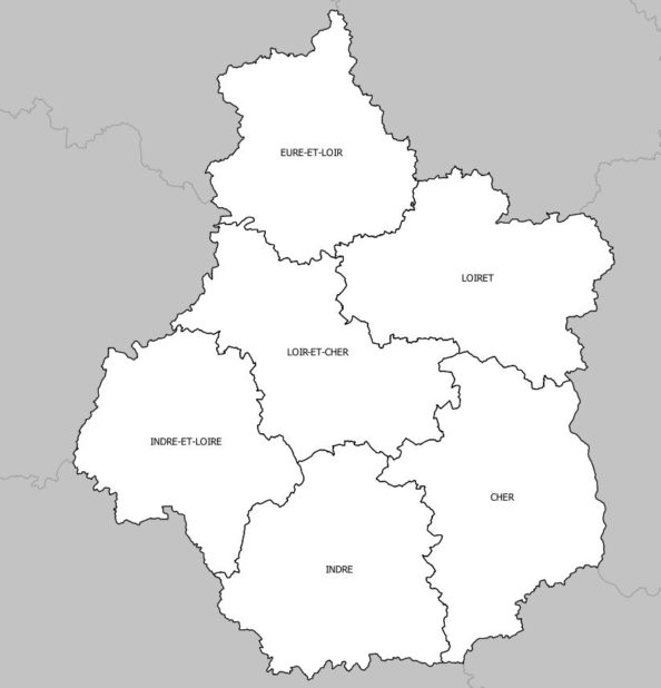 Carte des départements du Centre-Val de Loire