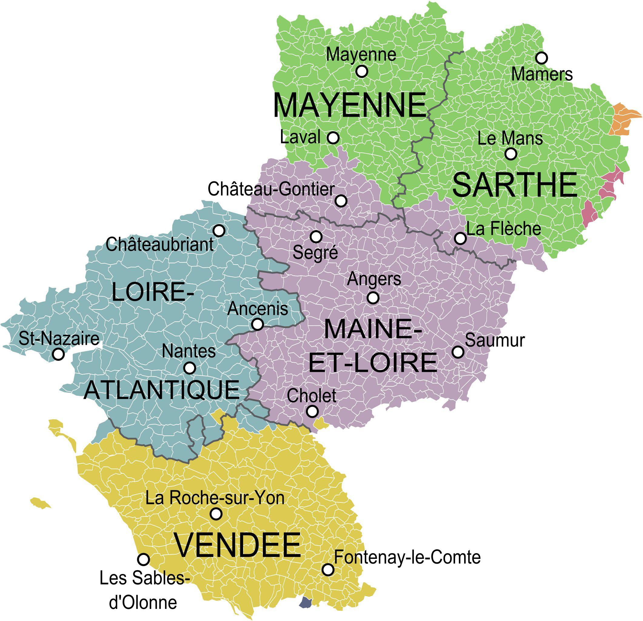Carte Des Pays De La Loire Pays De La Loire Carte Des