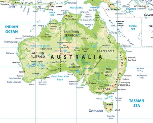 Carte détaillée de l'Australie