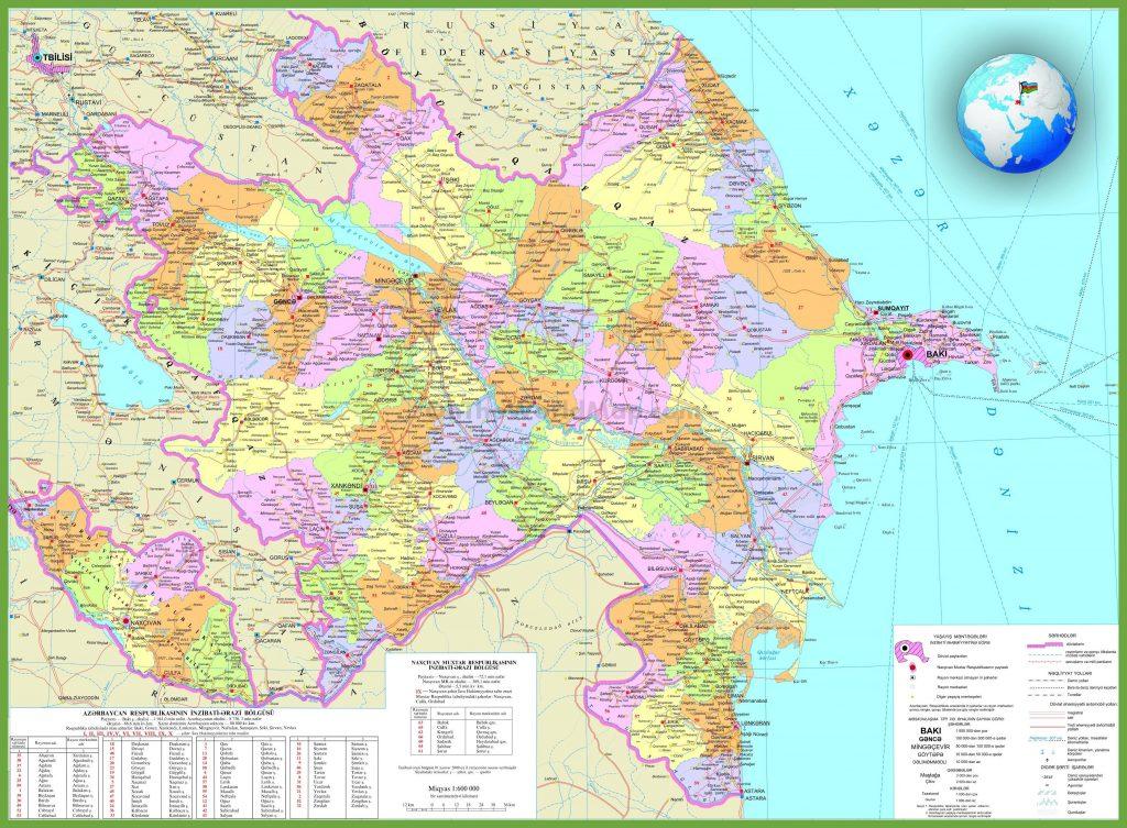 Carte détaillée de l'Azerbaïdjan