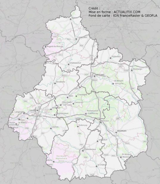 Carte détaillée de la région Centre-Val de Loire