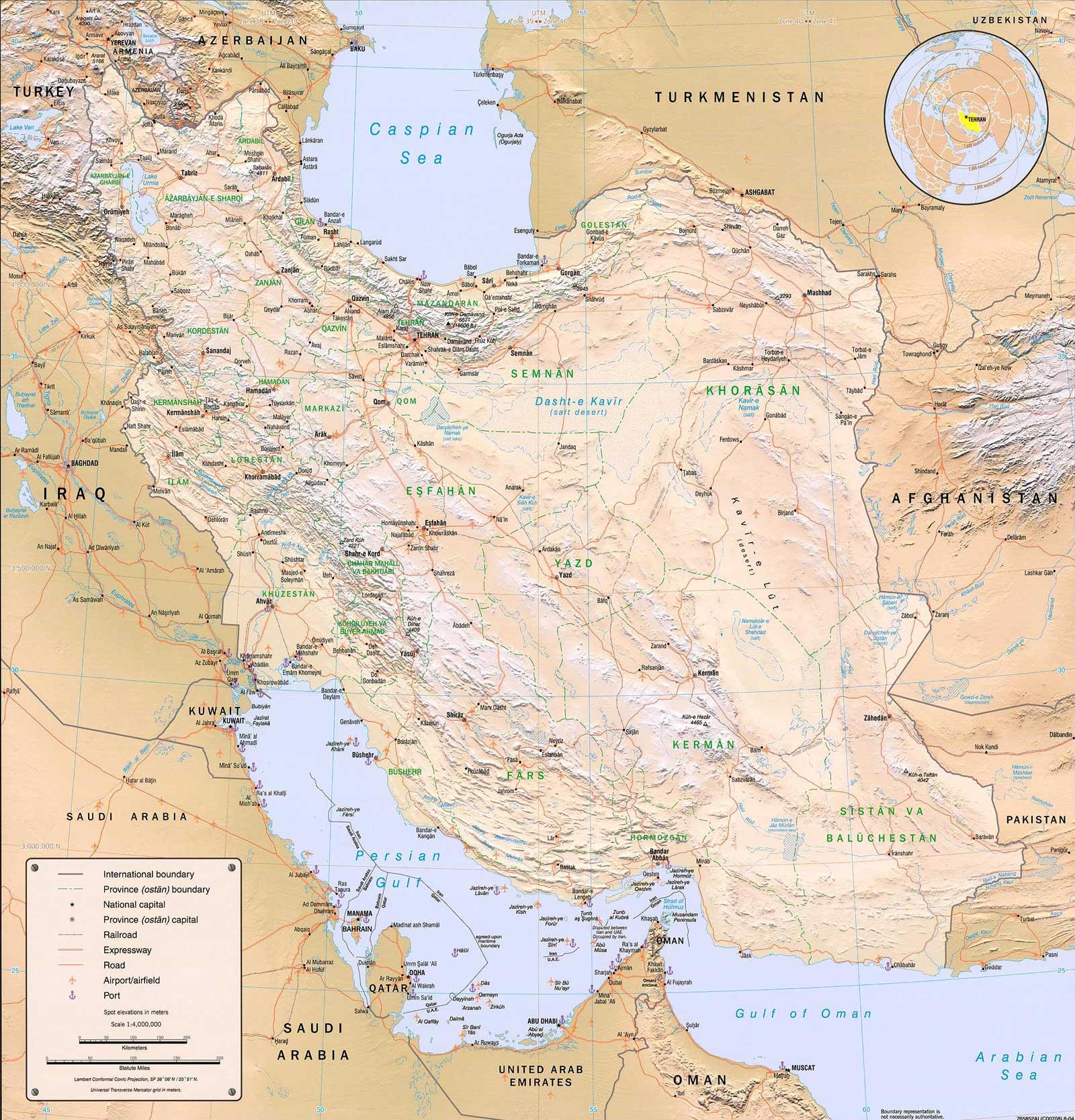 Carte détaillée de l'Iran