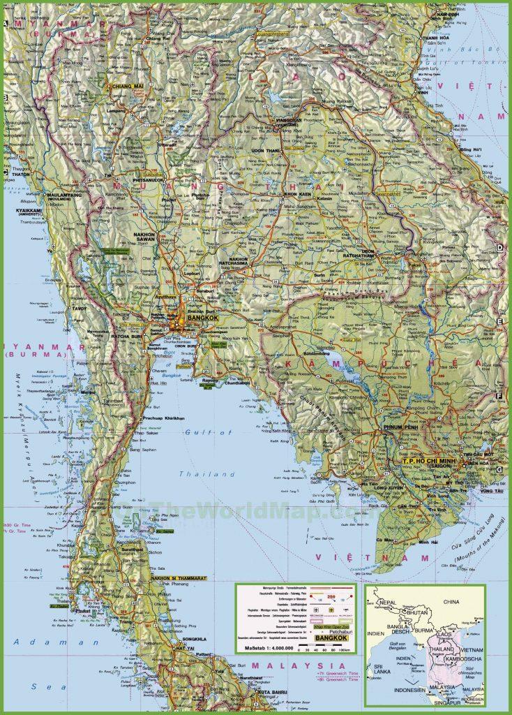 Carte détaillée de la Thaïlande