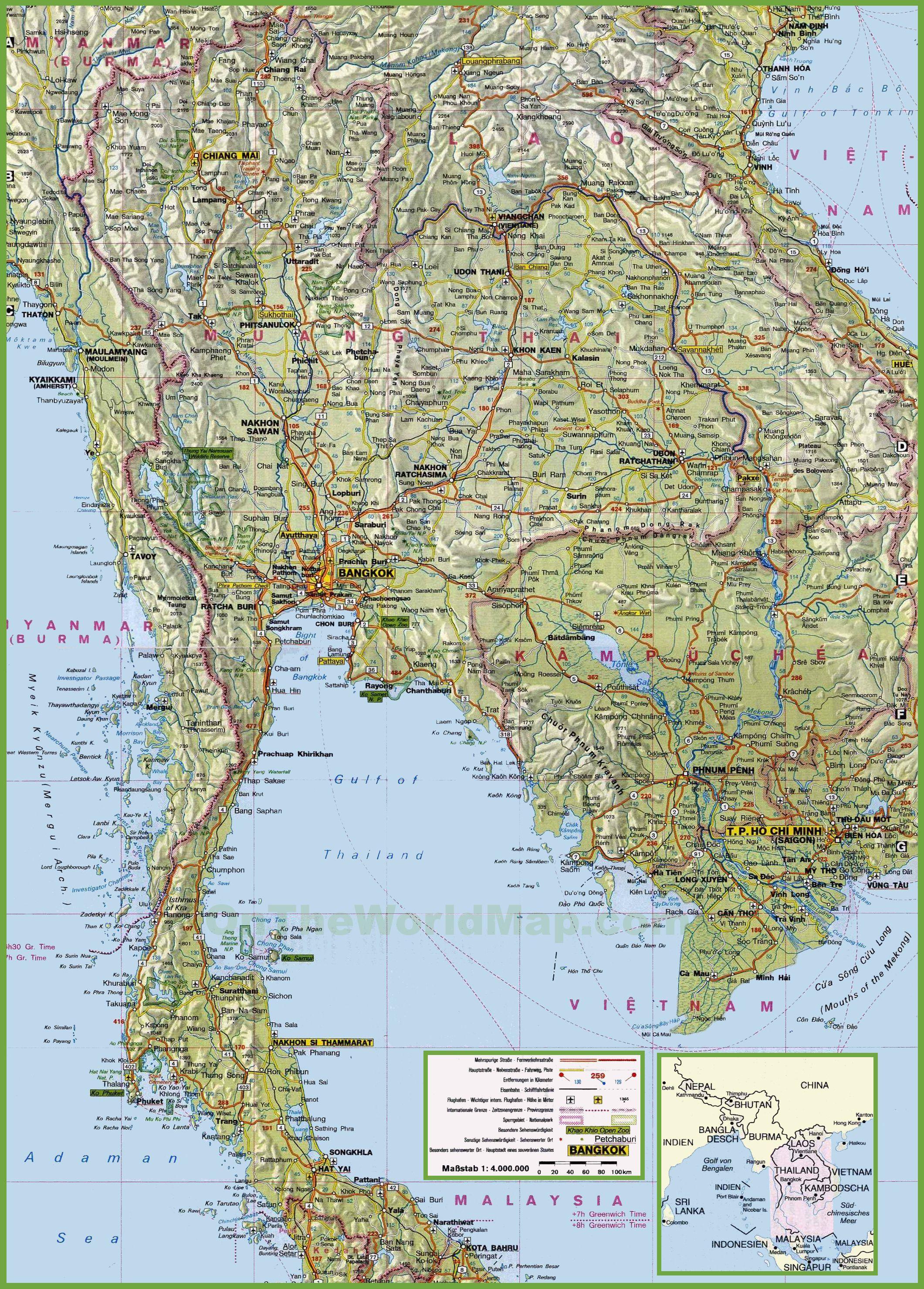Carte de la Thaïlande   Cartes sur les reliefs, les villes