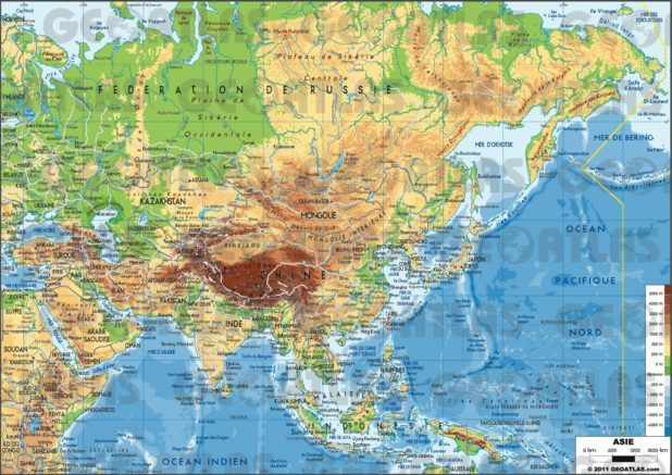 Carte de l'Asie - le relief