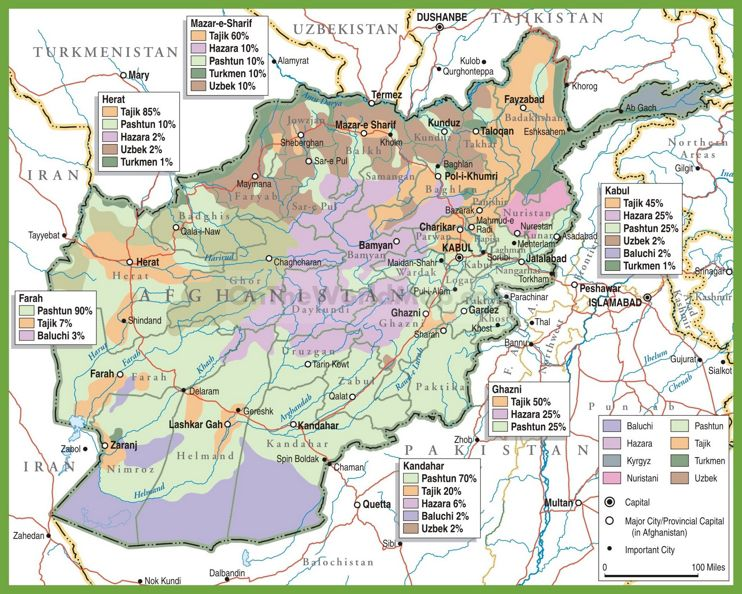 Carte des éthnies de l'Afghanistan