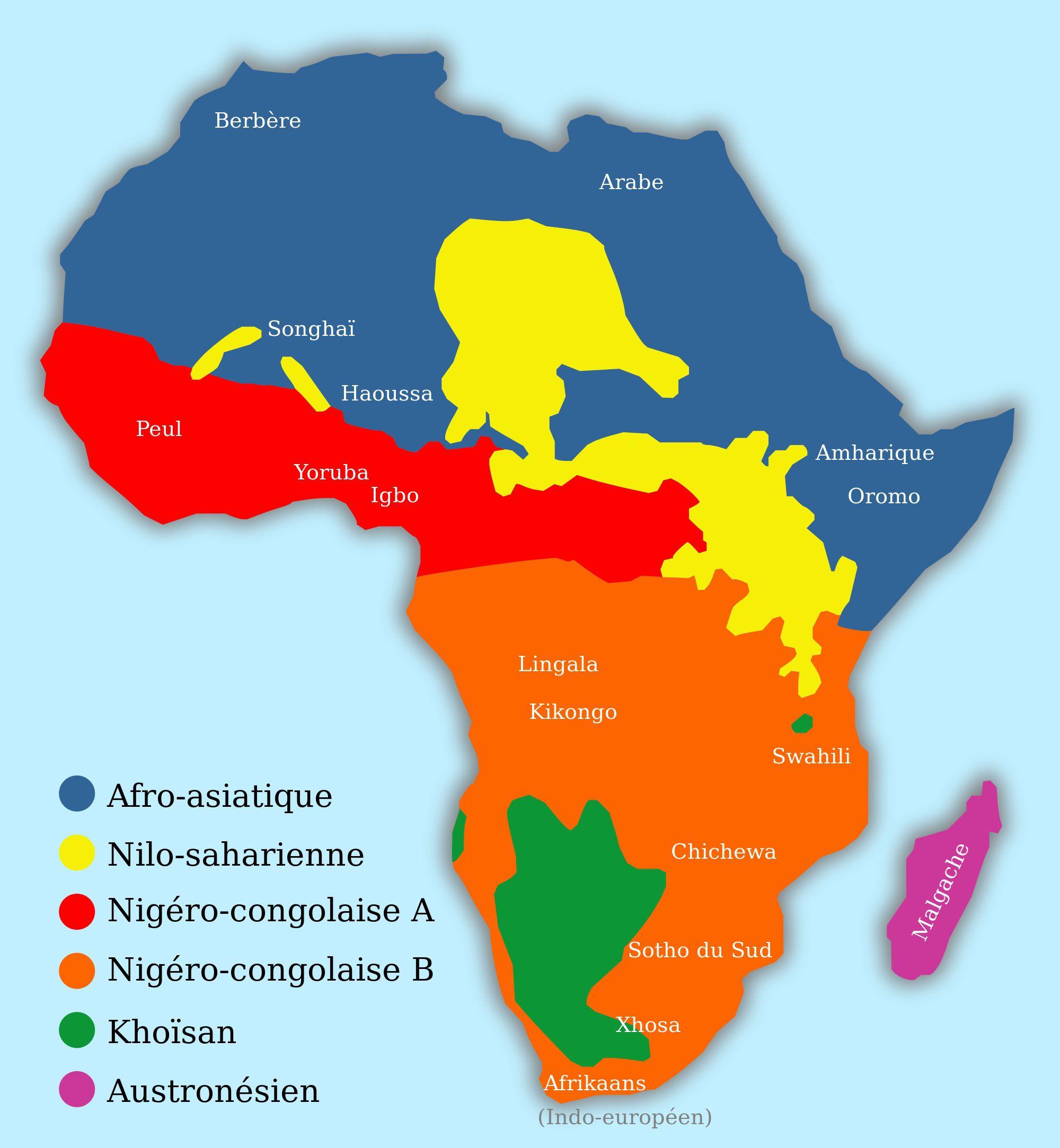 Carte des familles de langues en Afrique