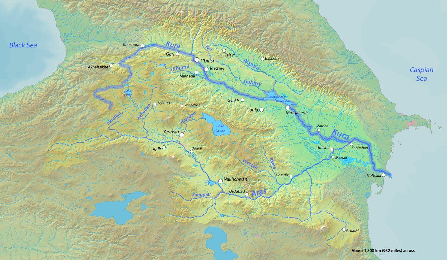 Carte des fleuves de l'Azerbaïdjan
