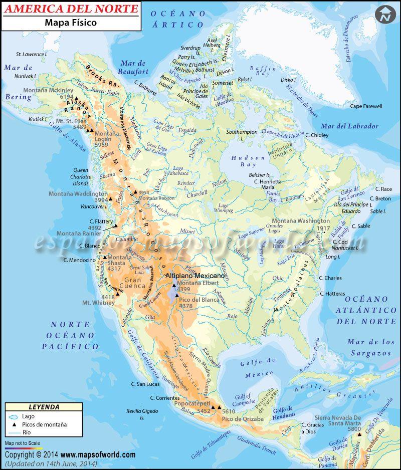 Carte Amerique Latine Avec Fleuves.Carte De L Amerique Du Nord Et Centrale Pays Relief Politique